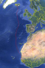 Map showing the autumn migration of one GPS tracked Whimbrel between Iceland and West Africa (image from Google maps)