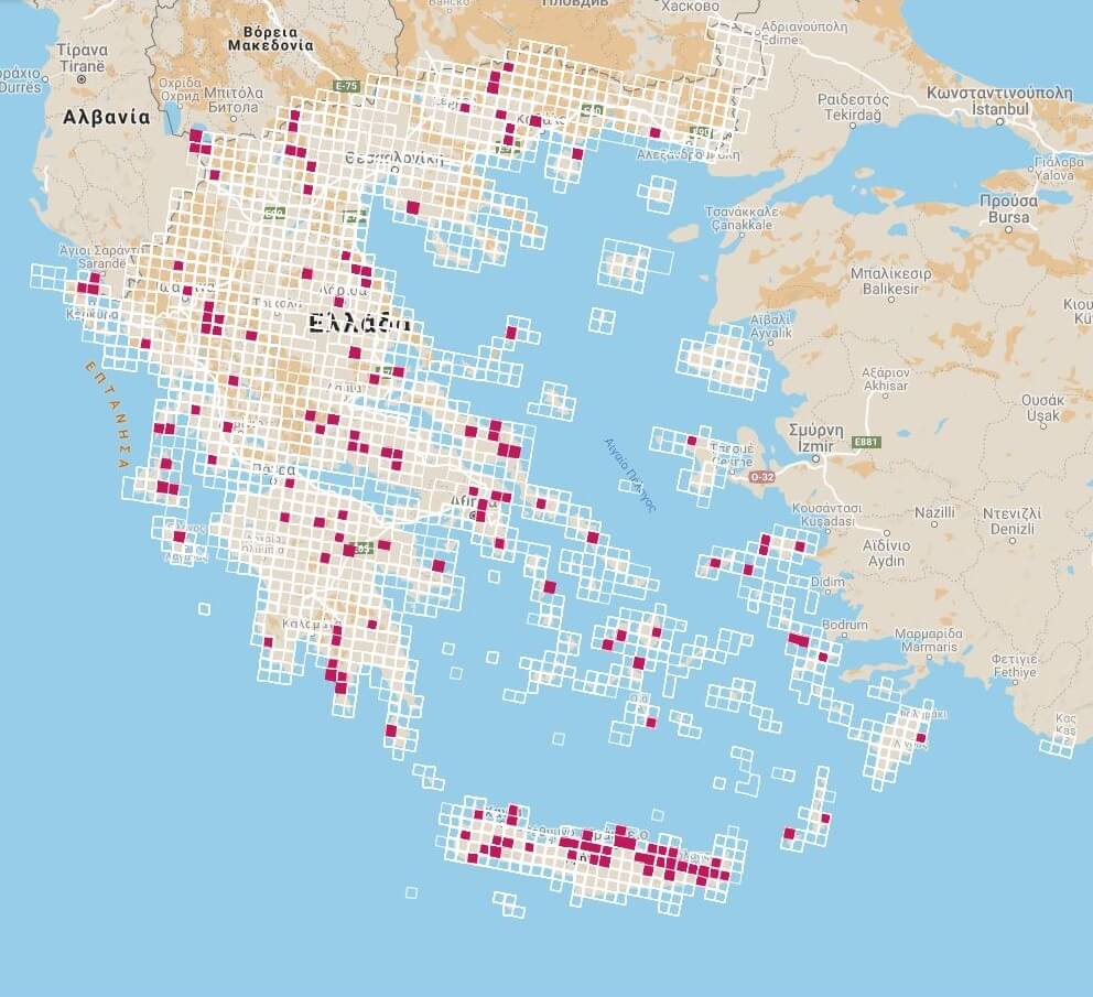 "The habitat ""8310-Caves not open to the public"" distribution in Greece according to the 2013-2018 report on Article 17"